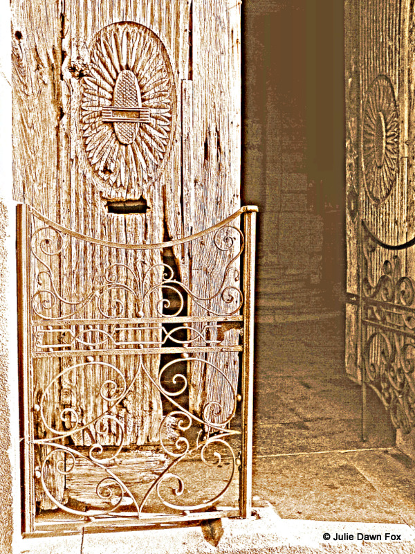 Old wooden door and railings, Porto