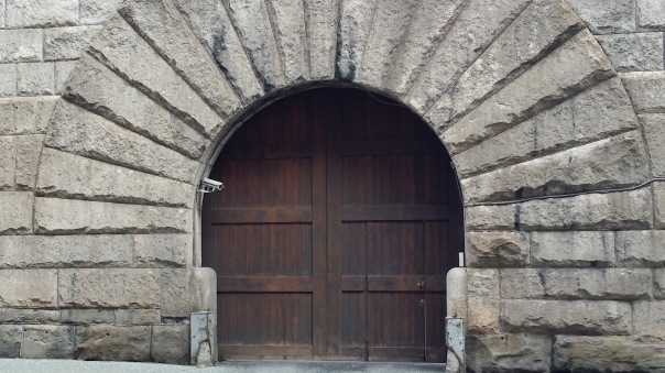An old door at Pittsburgh's fortress like jail.