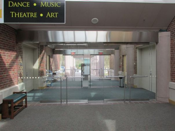 glass doors at art center priorhouse