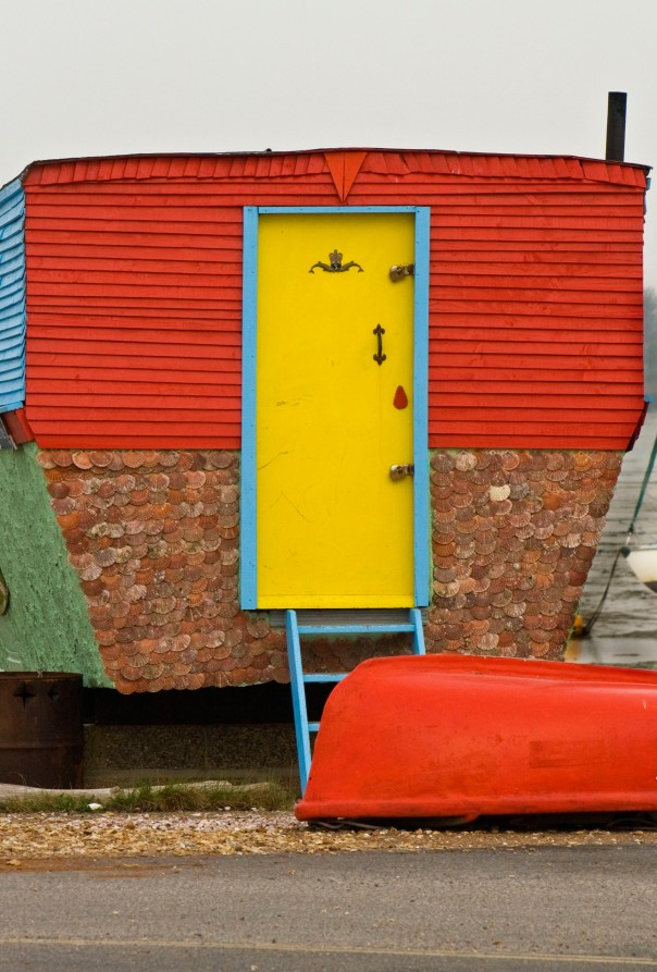 A house boat - yellow door